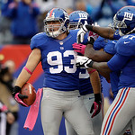 New York Giants middle linebacker Chase Blackburn (93) intercepts a pass in the endzone during the second half of an NFL football game against the Cleveland Browns Sunday, Oct. 7, 2012, in E …