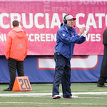 New York Giants head coach Tom Coughlin is shown with a Breast Cancer Awareness poster behind him during the first half of an NFL football game Sunday, Oct. 7, 2012, in East Rutherford, N.J. …