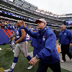New York Giants head coach Tom Coughlin acknowledges the crowd while walking off the field at the end of an NFL football game against the Cleveland Browns Sunday, Oct. 7, 2012, in East Ruthe …