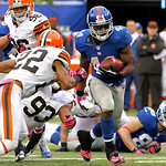 New York Giants running back Ahmad Bradshaw (44) runs with the ball against the Cleveland Browns during the second half of an NFL football game Sunday, Oct. 7, 2012, in East Rutherford, N.J. …