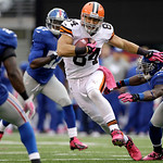 Cleveland Browns tight end Jordan Cameron (84) runs with the ball against the New York Giants during the second half of an NFL football game Sunday, Oct. 7, 2012, in East Rutherford, N.J. Th …