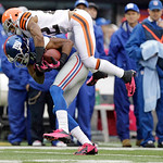Cleveland Browns defensive back Buster Skrine (22) makes a tackle during the first half of an NFL football game against the New York Giants Sunday, Oct. 7, 2012, in East Rutherford, N.J. (AP …