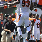 Cincinnati Bengals defensive end Michael Johnson (93) celebrates after recovering a fumble in the first half of an NFL football game against the Cleveland Browns, Sunday, Sept. 16, 2012, in …