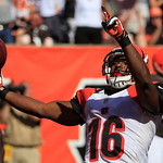 Cincinnati Bengals wide receiver Andrew Hawkins (16) scores on a 50-yard pass reception in the second half of an NFL football game against the Cleveland Browns, Sunday, Sept. 16, 2012, in Ci …