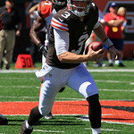 Cleveland Browns quarterback Brandon Weeden (3) runs against the Cincinnati Bengals in an NFL football game, Sunday, Sept. 16, 2012, in Cincinnati. (AP Photo/Al Behrman)