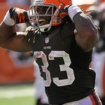 Cleveland Browns running back Trent Richardson (33) after scoring a touchdown against the Cincinnati Bengals in an NFL football game, Sunday, Sept. 16, 2012, in Cincinnati. (AP Photo/Tom Uhl …