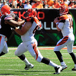 Cincinnati Bengals quarterback Andy Dalton (14) looks to pass against the Cleveland Browns in the first half of an NFL football game, Sunday, Sept. 16, 2012, in Cincinnati. (AP Photo/David K …