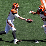 Cincinnati Bengals quarterback Andy Dalton (14) hands off to running back BenJarvus Green-Ellis in the first half of an NFL football game against the Cleveland Browns, Sunday, Sept. 16, 2012 …