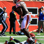 Cleveland Browns wide receiver Mohamed Massaquoi (11) catches a pass during an NFL football game against the Cincinnati Bengals, Sunday, Sept. 16, 2012, in Cincinnati. (AP Photo/David Kohl)