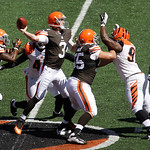 Cleveland Browns quarterback Brandon Weeden (3) passes against the Cincinnati Bengals in the first half of an NFL football game, Sunday, Sept. 16, 2012, in Cincinnati. (AP Photo/Tom Uhlman)