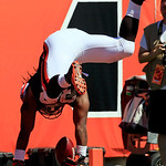 Cleveland Browns running back Trent Richardson flips into the end zone at the end of a touchdown run in the first half of an NFL football game against the Cincinnati Bengals, Sunday, Sept. 1 …