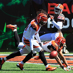 Cincinnati Bengals cornerback Leon Hall (29) and free safety Reggie Nelson (20) break up a pass intended for Cleveland Browns wide receiver Greg Little in the first half of an NFL football g …