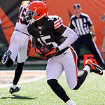 Cleveland Browns wide receiver Greg Little (15) scores on a pass reception in the second half of an NFL football game against the Cincinnati Bengals, Sunday, Sept. 16, 2012, in Cincinnati. C …