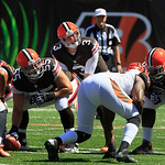 Cleveland Browns quarterback Brandon Weeden (3) calls a play against the Cincinnati Bengals in the first half of an NFL football game, Sunday, Sept. 16, 2012, in Cincinnati. (AP Photo/David …