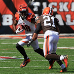 Cincinnati Bengals wide receiver A.J. Green (18) in action against Cleveland Browns cornerback Dimitri Patterson (21) in the second half of an NFL football game, Sunday, Sept. 16, 2012, in C …