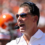 Cleveland Browns head coach Pat Shurmur works on the sidelines in the first half of an NFL football game against the Cincinnati Bengals, Sunday, Sept. 16, 2012, in Cincinnati. (AP Photo/Tom  …
