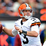 Cleveland Browns quarterback Brandon Weeden (3) looks to pass in the first quarter of an NFL football game against the Buffalo Bills Sunday, Sept. 23, 2012, in Cleveland. Weeden threw two in &#8230;