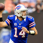 Buffalo Bills quarterback Ryan Fitzpatrick (14) passes during an NFL football game against the Cleveland Browns Sunday, Sept. 23, 2012, in Cleveland. (AP Photo/Tony Dejak)