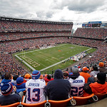 Under stormy skies, fans watch from the upper reaches of Cleveland Browns Stadium during the third quarter of an NFL football game between the Cleveland Browns and the Buffalo Bills Sunday,  &#8230;
