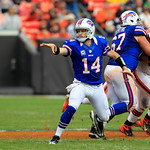 Buffalo Bills quarterback Ryan Fitzpatrick (14) tosses the ball in an NFL football game against the Cleveland Browns Sunday, Sept. 23, 2012, in Cleveland. (AP Photo/Tony Dejak)