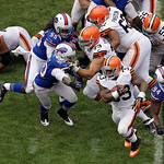 Cleveland Browns running back Trent Richardson (33) runs against the Buffalo Bills in the third quarter of an NFL football game Sunday, Sept. 23, 2012, in Cleveland. (AP Photo/Mark Duncan)
