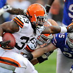 Cleveland Browns running back Trent Richardson runs against the Buffalo Bills in the first quarter of an NFL football game Sunday, Sept. 23, 2012, in Cleveland. (AP Photo/David Richard)