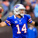 Buffalo Bills quarterback Ryan Fitzpatrick throws a 9-yard touchdown pass to wide receiver T.J. Graham in the first quarter of an NFL football game against the Cleveland Browns, Sunday, Sept &#8230;
