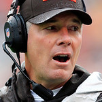 Cleveland Browns head coach Pat Shurmur yells to his bench in the second quarter of an NFL football game against the Buffalo Bills, Sunday, Sept. 23, 2012, in Cleveland. (AP Photo/Tony Dejak &#8230;