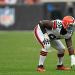 Cleveland Browns defensive end Frostee Rucker (92) gets into position during an NFL football game against the Buffalo Bills Sunday, Sept. 23, 2012, in Cleveland. (AP Photo/Tony Dejak)