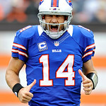 Buffalo Bills quarterback Ryan Fitzpatrick reacts after throwing a 9-yard touchdown pass to wide receiver Steve Johnson in the fourth quarter of an NFL football game against the Cleveland Br &#8230;
