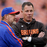 Buffalo Bills head coach Chan Gailey, left, talks with Cleveland Browns head coach Pat Shurmur before an NFL football game Sunday, Sept. 23, 2012, in Cleveland. (AP Photo/Mark Duncan)