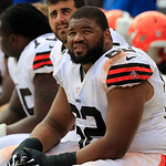 Cleveland Browns tight end Benjamin Watson (82) sits on the bench during an NFL football game against the Buffalo Bills Sunday, Sept. 23, 2012, in Cleveland. (AP Photo/Tony Dejak)