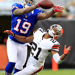 Buffalo Bills wide receiver Donald Jones (19) can&#039;t hold onto the ball as Cleveland Browns defensive back Dimitri Patterson (21) defends in an NFL football game Sunday, Sept. 23, 2012, in Cl &#8230;