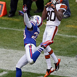 Buffalo Bills cornerback Aaron Williams breaks up a pass intended for Cleveland Browns wide receiver Travis Benjamin (80) in the third quarter of an NFL football game Sunday, Sept. 23, 2012, &#8230;