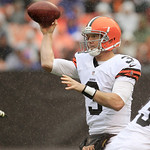 Cleveland Browns quarterback Brandon Weeden throws during an NFL football game against the Buffalo Bills Sunday, Sept. 23, 2012, in Cleveland. (AP Photo/Tony Dejak)