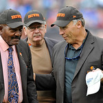 Football Hall of Famers Joe DeLamielleure, right, and Jim Brown talk during halftime of an an NFL football game between the Cleveland Browns and the Buffalo Bills Sunday, Sept. 23, 2012, in  &#8230;