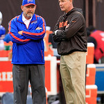 Buffalo Bills head coach Chan Gailey, left, and Cleveland Browns head coach Pat Shurmur talk before an NFL football game Sunday, Sept. 23, 2012, in Cleveland. (AP Photo/Tony Dejak)