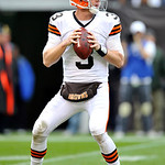 Cleveland Browns quarterback Brandon Weeden drops back to pass against the Buffalo Bills in the fourth quarter of an NFL football game Sunday, Sept. 23, 2012, in Cleveland. Weeden was sacked &#8230;