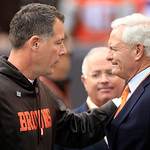 Cleveland Browns head coach Pat Shurmur, left, talks with Browns owner Jimmy Haslam before the Browns play the Buffalo Bills in an NFL football game Sunday, Sept. 23, 2012, in Cleveland. (AP &#8230;