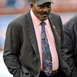Former Cleveland Browns great Jim Brown participates in a ceremony honoring Ernie Green and Clarence Scott at halftime during an NFL football game between the Browns and the Buffalo Bills, S &#8230;
