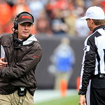 Cleveland Browns head coach Pat Shurmur complains to referee David Scott (92) in the second quarter of an NFL football game against the Buffalo Bills Sunday, Sept. 23, 2012, in Cleveland. (A &#8230;