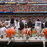 Cleveland Browns helmets rest during an NFL football game against the Buffalo Bills Sunday, Sept. 23, 2012, in Cleveland. (AP Photo/Tony Dejak)