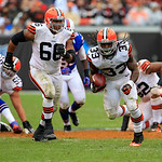 Cleveland Browns running back Trent Richardson (33) runs the ball in an NFL football game against the Buffalo Bills Sunday, Sept. 23, 2012, in Cleveland. (AP Photo/Tony Dejak)