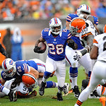 Buffalo Bills running back C.J. Spiller runs against the Cleveland Browns in the first quarter of an NFL football game Sunday, Sept. 23, 2012, in Cleveland. (AP Photo/David Richard)