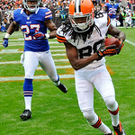 Cleveland Browns wide receiver Travis Benjamin (80) catches a touchdown pass in front of Buffalo Bills defensive back Stephon Gilmore (27) in the third quarter of an  NFL football game, Sund &#8230;
