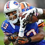 Buffalo Bills wide receiver Steve Johnson (13) catches a pass for a first down in the first quarter of an NFL football game against the Cleveland Browns Sunday, Sept. 23, 2012, in Cleveland. &#8230;