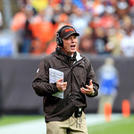Cleveland Browns head coach Pat Shurmur reacts during an NFL football game  against the Buffalo Bills Sunday, Sept. 23, 2012, in Cleveland. (AP Photo/Tony Dejak)