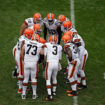 Cleveland Browns quarterback Brandon Weeden (3) calls a play in the huddle in the third quarter of an NFL football game against the Buffalo Bills Sunday, Sept. 23, 2012, in Cleveland. (AP Ph &#8230;