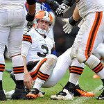 Cleveland Browns quarterback Brandon Weeden (3) picks himself up after getting knocked down by the Buffalo Bills in the fourth quarter of an NFL football game Sunday, Sept. 23, 2012, in Clev &#8230;