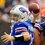 Buffalo Bills quarterback Ryan Fitzpatrick passes against the Cleveland Browns in the second quarter of an NFL football game Sunday, Sept. 23, 2012, in Cleveland. (AP Photo/Tony Dejak)